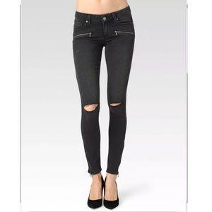 Paige | Jane Zip Mid Rise Black Ultra Skinny Jeans